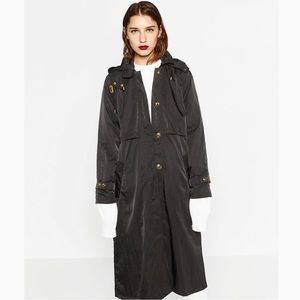 Zara Oversized Hooded Trench Coat - Black